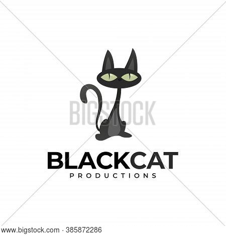 Black Cat Logo - Animal Cute Pet Kitty Domestic Feline Adorable Friendly Mammal Fur Love Playful Mas