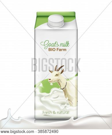 Carton Box With A Goat Submerged In Milk On It. Fresh And Natural. Realistic. 3d Mockup Product Plac