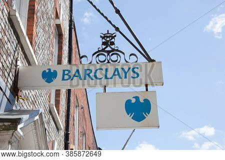 A Barclays Bank Sign Above A Bank In Dorchester In The Uk Taken On The 20th July 2020