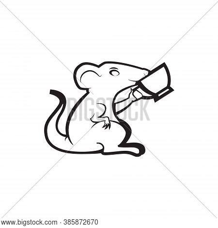 Mouse Logo Mascot Illustration - Cartoon Character Posing Rat Little Domestic Animal Vector Mammal C