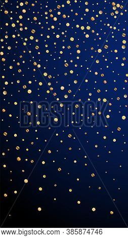 Festive Fair Confetti. Celebration Stars. Sparse Gold Confetti On Dark Blue Background. Ideal Festiv