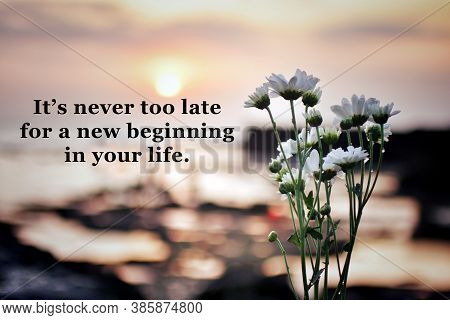Inspirational Motivational Words  - It Is Never Too Late For A New Beginning In Your Life. With Spri