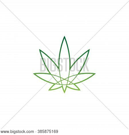 Cannabis Logo - Marijuana Symbol - Green Medicine Leaf Natural Plant Hemp Oil Weed Health Legal Herb