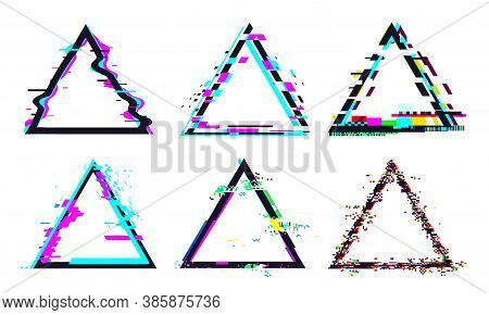 Glitch Triangle Frame. Destroyed Geometric Shape With Distorted Signal Or Noise. Light Bug Effects A