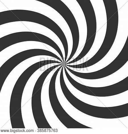Psychedelic Spiral. Black And White Hypnotic Swirl Background. Geometric Illusion And Rotating Strip