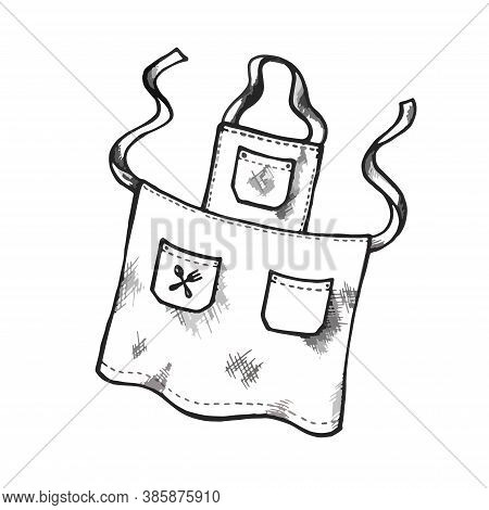 Hand Drawing Apron With Pockets. Vector Illustration Isolated On White Background. Kitchen Stuff. Pi
