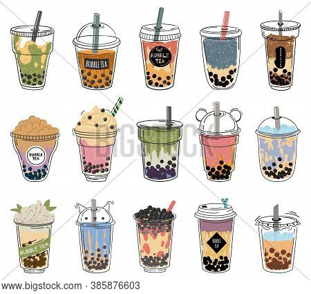 Bubble Tea. Popular Taiwanese Pearl Milk Tea With Balls, Bubble Asian Tea, Soft Drinks In Plastic Cu