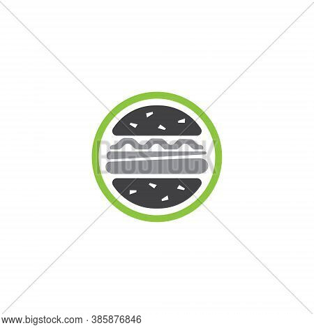 Hamburger Logo Design Illustration - Burger Meat Grilled Bbq Beef Tomato Sandwich Food Lettuce Chees