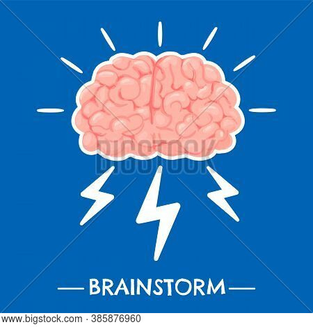 Brainstorming. New Idea Brain Innovation And Solutions, Power Creative Mind, Learning And Invention,
