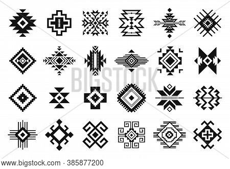 Tribal Elements. Monochrome Geometric American Indian Patterns, Navajo And Aztec, Ethnic Ornament Fo