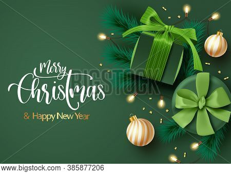 Christmas Background Vector Template Design. Merry Christmas Text With Green Gifts And Leaves With G