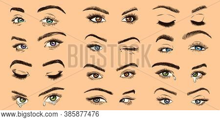 Female Eyes. Open, Closed And Crying Colored Women Eyes With Luxurious Lashes, Perfect Eyelash, Girl