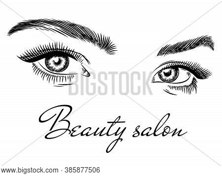 Female Eyes. Beauty Salon Poster Art Design With Beautiful Woman Eyes, Eyelashes And Eyebrow, Fashio