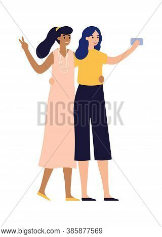 Girlfriends Posing For Photo On Smartphone. Women Taking Selfie Using Mobile Phone. Beautiful Charac