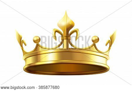 Royal Crown For King And Queen. Royalty And Monarchy Authority Symbol, Heraldic Golden Shiny Element