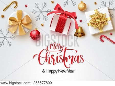 Christmas Vector Background Banner Design. Merry Christmas Greeting Text With Colorful Xmas Decorati