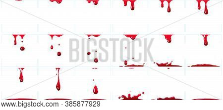 Dripping Blood Animation. Red Paint Splash For Game, Murder Or Crime Scene With Bloody Splatter, Hal