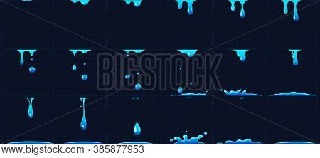 Dripping Water Animation, Water Splashes For Game Development. Dropping Liquid In Frames For Cartoon