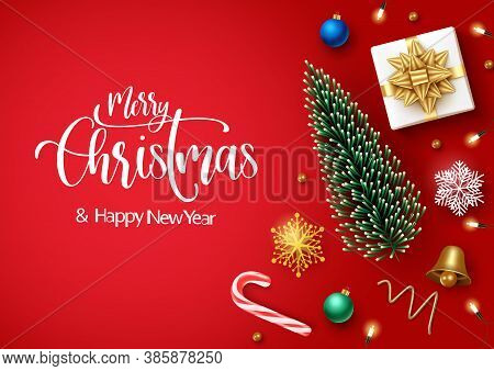 Merry Christmas Vector Banner Background Template. Merry Christmas Text With Xmas Decoration Element