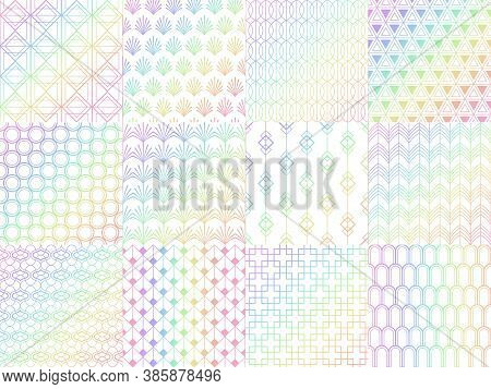 Holographic, Metal Rainbow Seamless Pattern Set. Colorful Shiny Foil With Gradient. Luminous Design