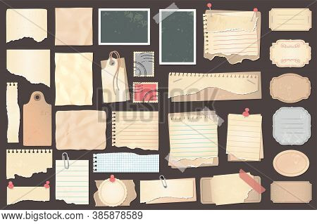 Old Scrapbook Paper Pieces, Stamps And Labels. Retro Ripped Pages With Pins And Paperclip. Notebook