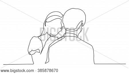 Couple In Continuous Line Art Drawing Style. Romantic Couple. Continuous One Line Drawing. Happy Peo