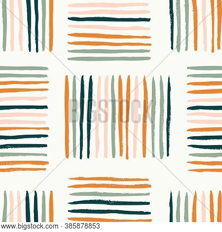 Colorful Stripes Basket Weave Abstract Vector Pattern. Hand Painted Stripes In Different Colors Crea