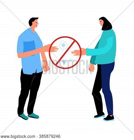 Stay Safe By Avoid Handshakes And Physical Contact When Meeting During Outbreak.coronavirus Pandemic