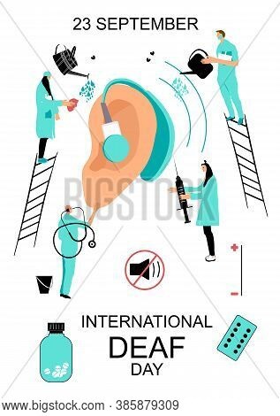 International Deaf Day 23 September Hand Drawn Vector Illustration.people In Medical Clothes Taking