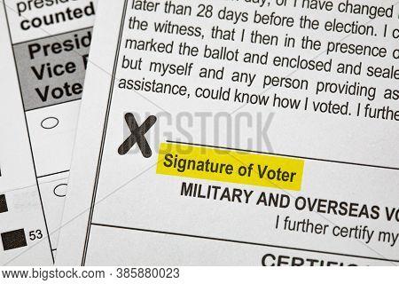 Madison, Wisconsin, Usa - September 17, 2020: A 2020 Presidential Election Voting Ballot Highlightin