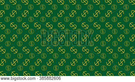 Dollar Money Sign Pattern On Green Background, Usd Dollar Currency Symbol For Wallpaper, Dollar Patt