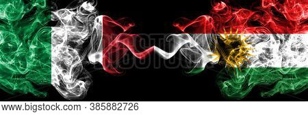 Italy Vs Kurdistan, Kurdish Smoky Mystic Flags Placed Side By Side. Thick Colored Silky Abstract Smo