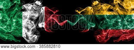 Italy Vs Lithuania, Lithuanian Smoky Mystic Flags Placed Side By Side. Thick Colored Silky Abstract