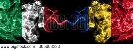 Italy Vs Romania, Romanian Smoky Mystic Flags Placed Side By Side. Thick Colored Silky Abstract Smok