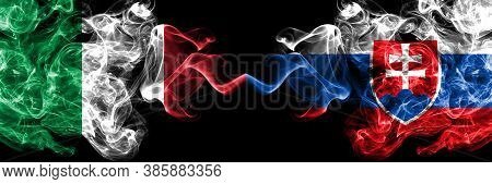 Italy Vs Slovakia, Slovakian Smoky Mystic Flags Placed Side By Side. Thick Colored Silky Abstract Sm