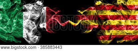 Italy Vs Spain, Catalonia, Catalan, Senyera Smoky Mystic Flags Placed Side By Side. Thick Colored Si