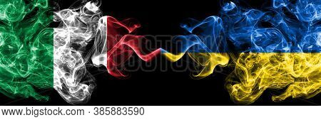 Italy Vs Ukraine, Ukrainian Smoky Mystic Flags Placed Side By Side. Thick Colored Silky Abstract Smo