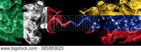 Italy Vs Venezuela, Venezuelan Smoky Mystic Flags Placed Side By Side. Thick Colored Silky Abstract