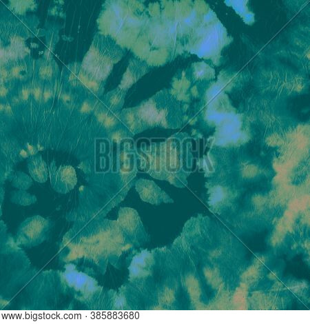 Tie Dye Spiral. Blue Color Fabric. Tie-dye Circle Background. Abstract Watercolor Kaleidoscope. Bati