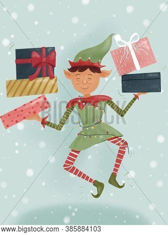 Hand-draw Illustration Of Christmas Dwarf Elf Holding Santa Claus Gifts.
