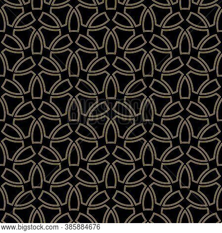 Seamless Vector Ornament In Arabian Style. Geometric Abstract Background. Black And Golden Pattern F