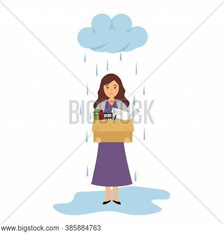 Businesswoman Leaving Job Vector Illustration On White Background. Fired Office Worker In Flat Desig