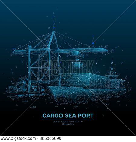 Abstract Low Poly Cargo Sea Port. 3d Ship, Port Crane And Containers In Dark Blue. Container Ships,