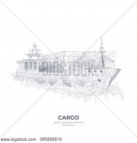 Abstract Polygonal 3d Cargo Ship Isolated In White Background. Container Ships, Transportation, Logi