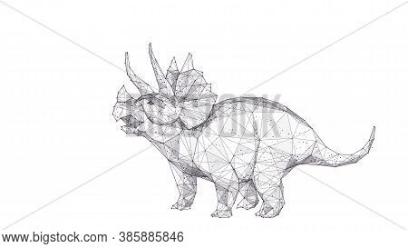 Polygonal Huge 3d Triceratops With Horns Isolated In White Background. Abstract Hand Drawing Of Tric