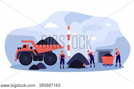Coal Extraction Concept. Miners Working In Quarry, Digging Heaps Of Coal Near Smoking Pipes And Heav