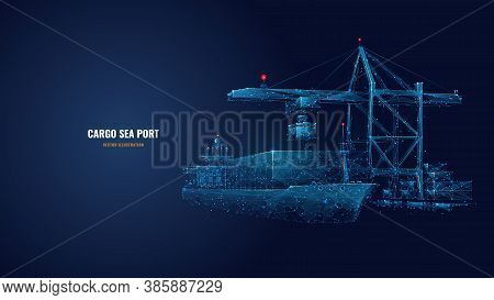 Digital Polygonal Cargo Sea Port. 3d Ship, Port Crane And Containers In Dark Blue. Container Ships,