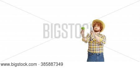 Handsome Farmer, Rancher Isolated Over White Studio Background. Concept Of Professional Occupation,