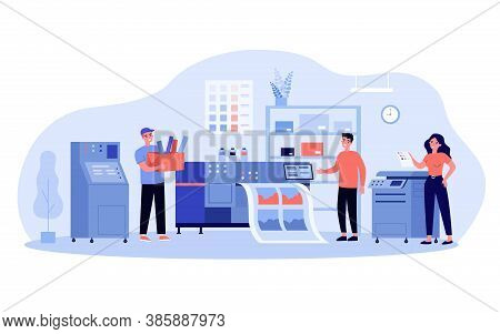 Print Production Concept. Typography Workers Using Big Commercial Printer For Printing Colorful Post