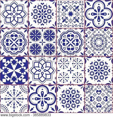 Portuguese Azulejo Tile Seamless Vector Pattern, Lisbon Navy Blue Retro Tiles Design Collection